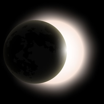 皆既日食、皆既日食。ベクトルイラスト