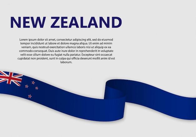 Развевающийся флаг новой зеландии, векторная иллюстрация