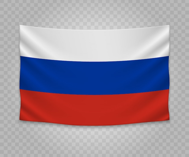 Реалистичный висячий флаг россии