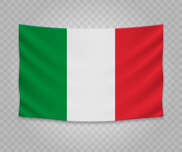 Реалистичный висячий флаг италии