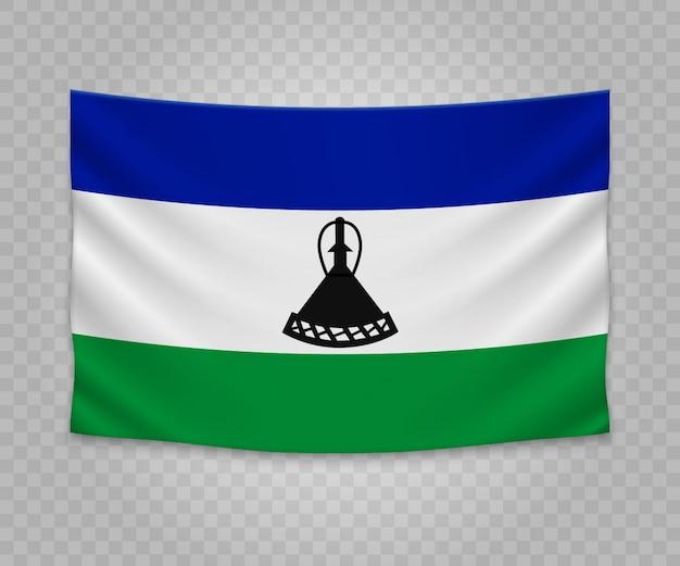 Реалистичный висячий флаг лесото