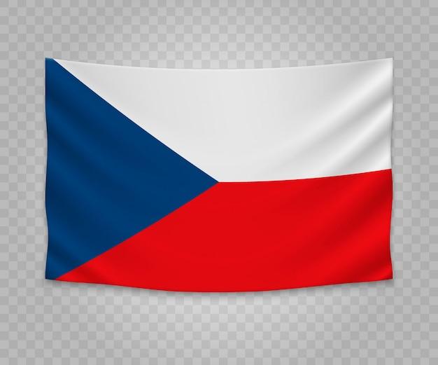 Реалистичный висячий флаг чехии