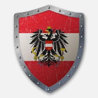 Старый щит с флагом австрии