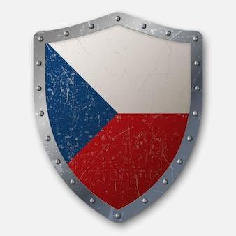 Старый щит с флагом чешской республики