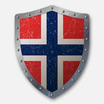 ノルウェーの国旗と古い盾