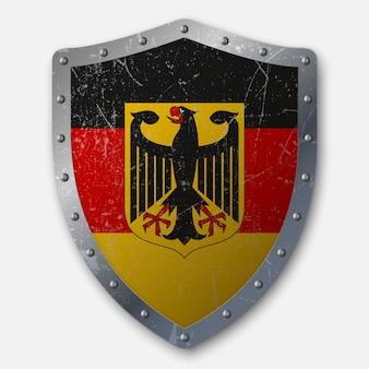 ドイツの旗と古い盾