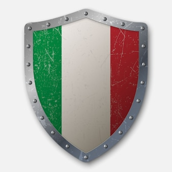 イタリアの旗と古い盾