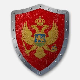 モンテネグロの国旗と古い盾