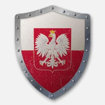 Старый щит с флагом польши