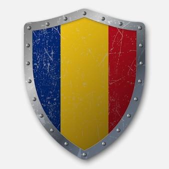 ルーマニアの国旗と古い盾
