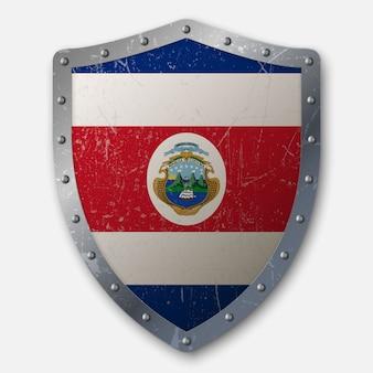 コスタリカの国旗と古い盾