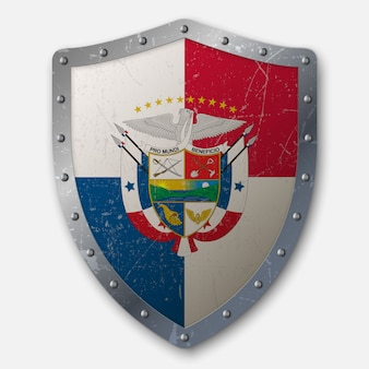 パナマの国旗と古い盾