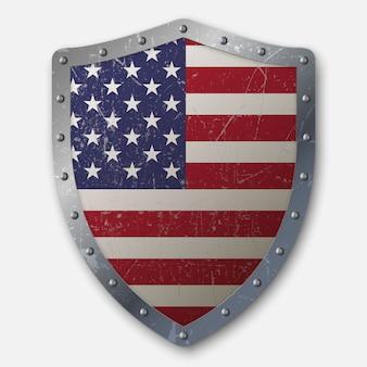 アメリカ合衆国の旗と古い盾