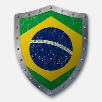 ブラジルの国旗と古い盾