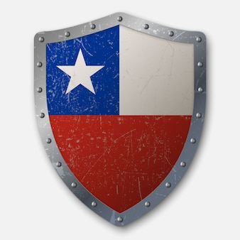 チリの国旗と古い盾
