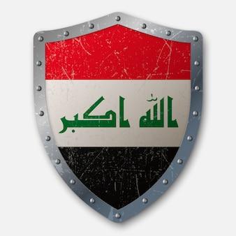 イラクの国旗と古い盾