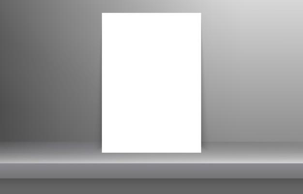 影付きの空の白い色棚の空白の枠
