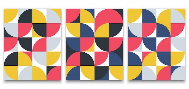 ポスターデザインのスカンジナビアスタイルの幾何学的なミニマルなパターン