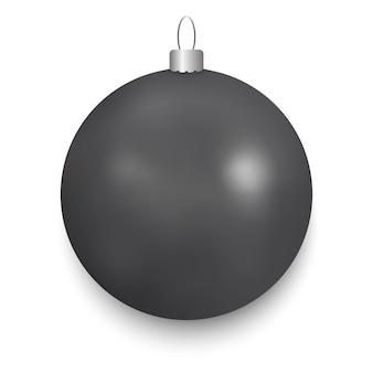 黒のクリスマスボール、白で隔離
