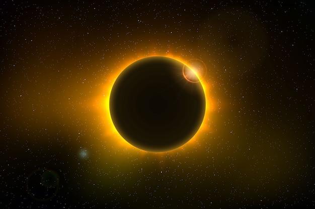 皆既日食のある宇宙背景
