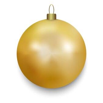白で隔離ゴールドのクリスマスボール