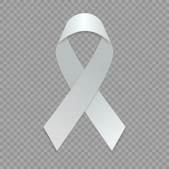 空白の白いリボン。意識のシンボルのテンプレートです。