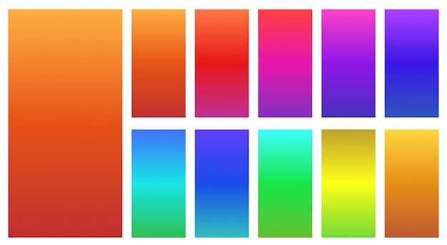 Красочные векторные иллюстрации абстрактных градиентов на белом фоне