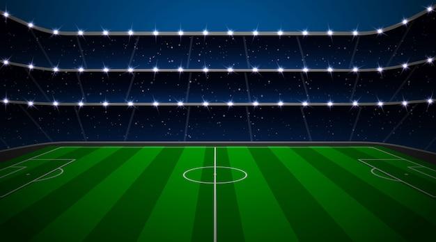 緑の野原とサッカースタジアム。