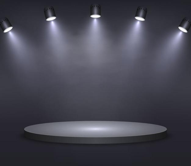 現実的なプラットフォーム、表彰台または台座に黒色の背景
