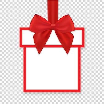 赤いリボンと弓とクリスマスラウンドペーパーギフトバナー
