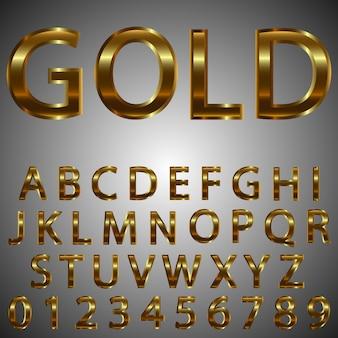 金属ゴールド効果の文字と数字。