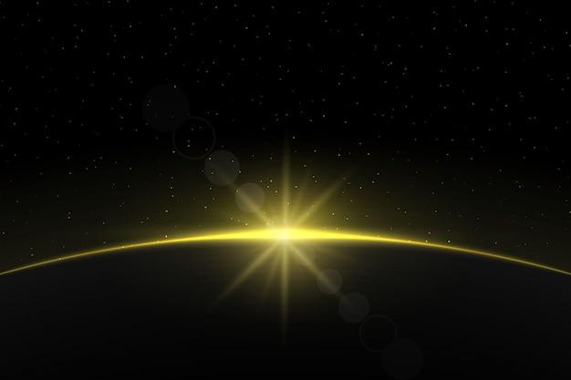 惑星地球の日の出。グローブホライズンの雰囲気