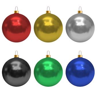 現実的な光沢のあるカラフルなクリスマスボールの白い背景で隔離の設定