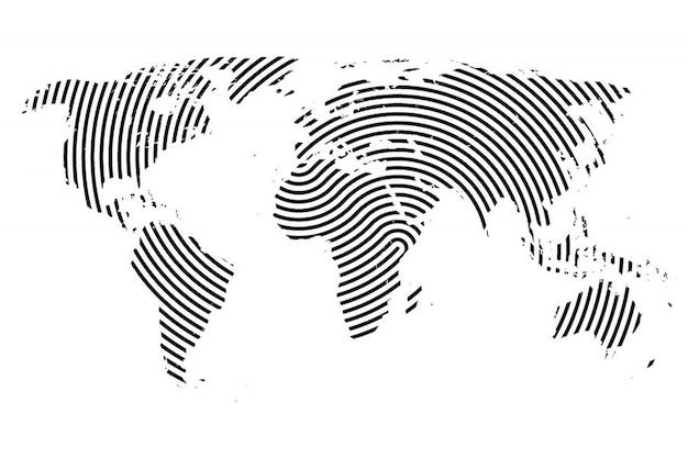 ライン付きの世界地図