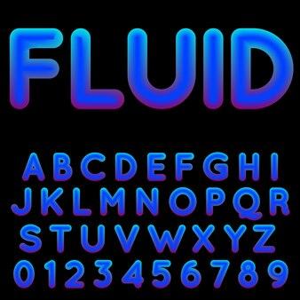 Синий градиент алфавит шаблон