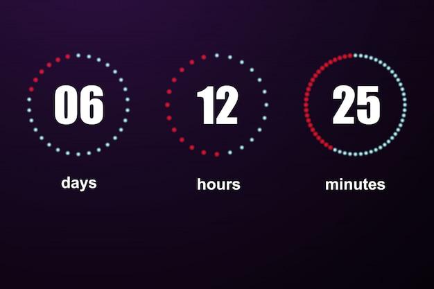 Шаблон обратного отсчета цифровых часов