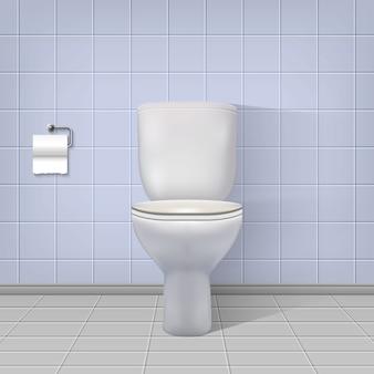 現実的なトイレのインテリアの背景。