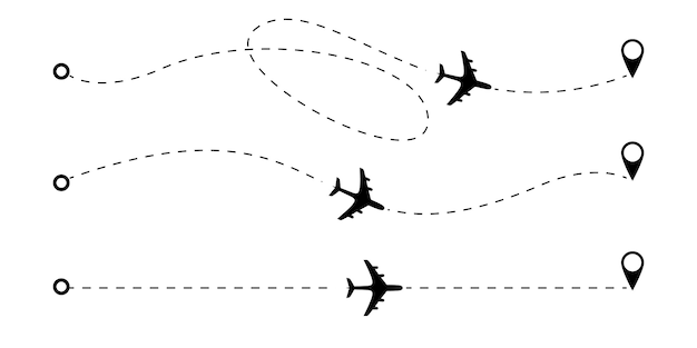 Маршрут самолета пунктирные линии.