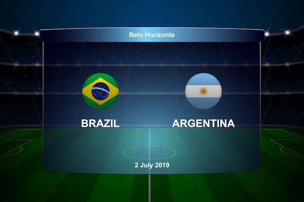ブラジル対アルゼンチンのサッカーのスコアボード