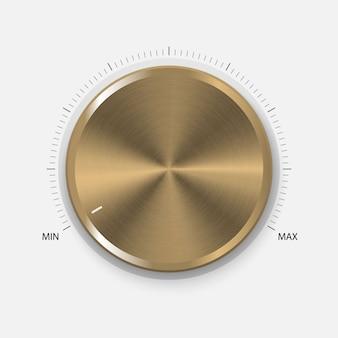 ダイヤルノブ円形処理の現実的なゴールドボタン。音量設定、サウンドコントロール