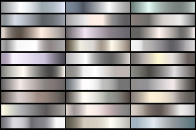リアルな銀のグラデーションのセットです。境界線、フレーム、リボンデザインのベクトル金属コレクション。