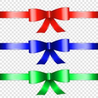 色の弓結び目と透明の背景に分離したリボンのセット