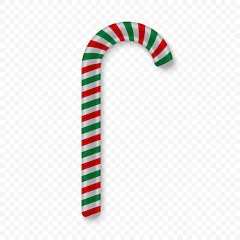 キャンディの杖は透明な背景に分離されました。ベクトルイラスト