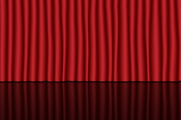 赤いカーテンで舞台。劇場、サーカス、映画の背景