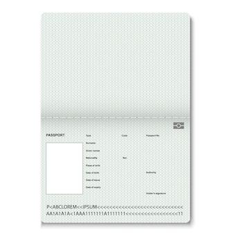 切手のための現実的なパスポート空白ページ。透かしを持つ空のパスポート。