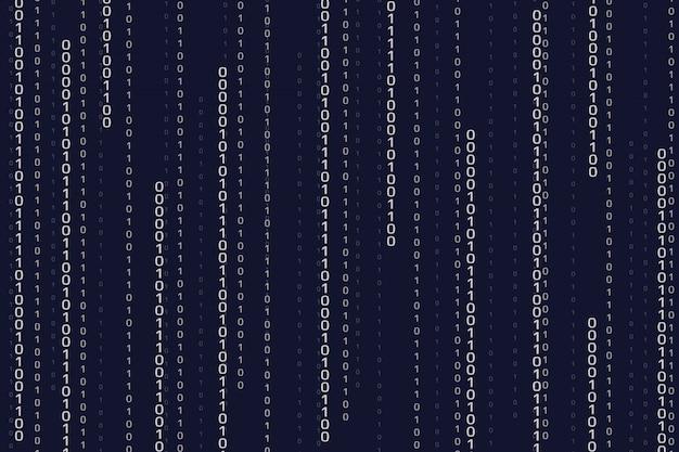ストリーミングバイナリコードの背景。数字とサイバーパターン