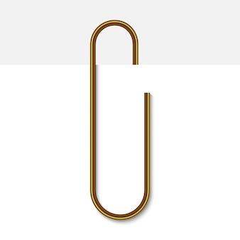 Скрепка на бумаге. иллюстрация реалистичные золотой скрепки.