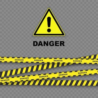 黒と黄色の縞模様の罫線と危険の背景