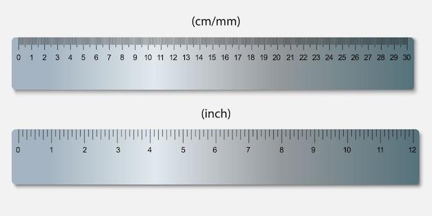 センチメートルで表示された金属製の定規、インチ