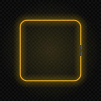 透明な背景に正方形のネオン白熱灯フレーム。